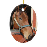 Horse in Barn Ceramic Ornament