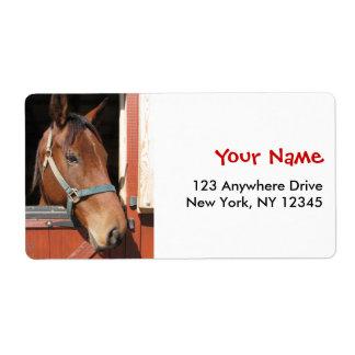 Horse in Barn Label