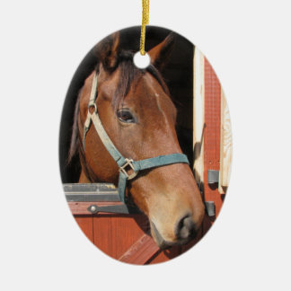 Horse in Barn Double-Sided Oval Ceramic Christmas Ornament