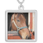 Horse in Barn Silver Plated Necklace