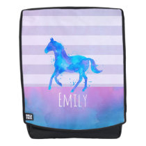 Horse in Blue and Purple Watercolor Personalized Backpack