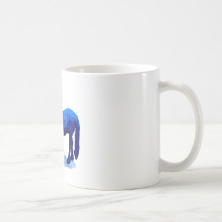 Horse in blue coffee mug