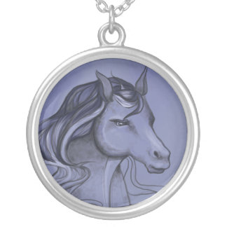 Horse in Blue Round Pendant Necklace