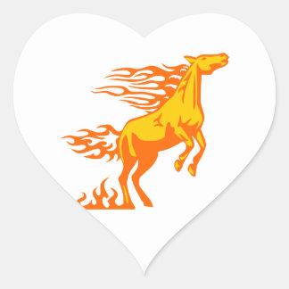 Horse in Flames Heart Sticker