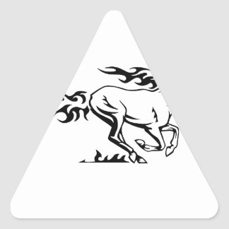 Horse in Flames Triangle Sticker
