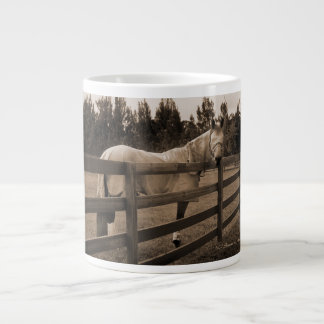 Horse in fly clothes sepia looking back over fence 20 oz large ceramic coffee mug