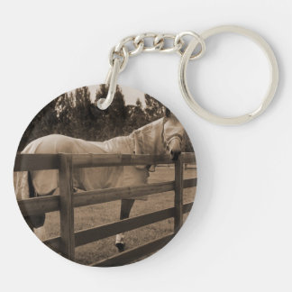 Horse in fly clothes sepia looking back over fence keychain