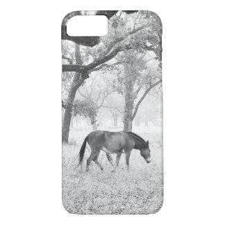 Horse In Foggy Field Of Oaks iPhone 7 Case