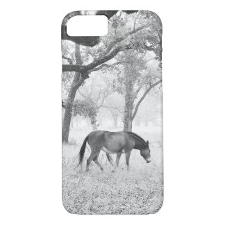 Horse In Foggy Field Of Oaks iPhone 8/7 Case