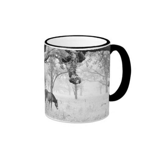 Horse In Foggy Field Of Oaks Ringer Coffee Mug