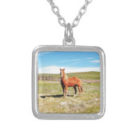 Horse in front of a Napa Vineyard Pendant
