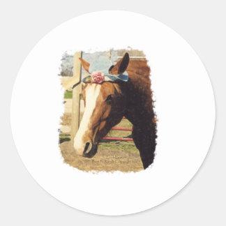 Horse in Hat Classic Round Sticker