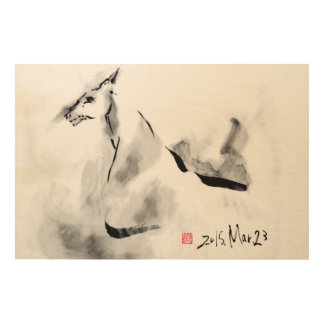 Horse in March wind Japanese art Wood Wall Art