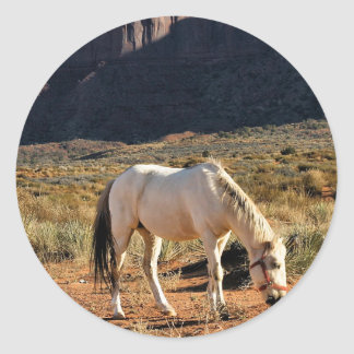 Horse in Monument Valley Round Stickers