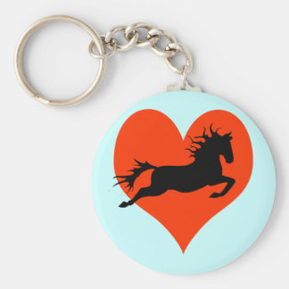 Horse In My Heart (black on red) Keychain