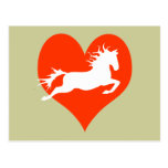 Horse In My Heart (white on red) Postcard