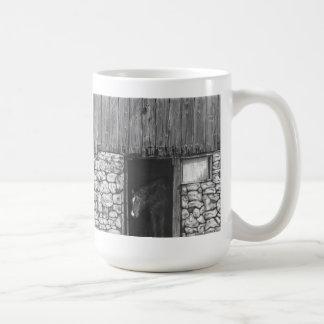 Horse in Old Barn Door Coffee Mug