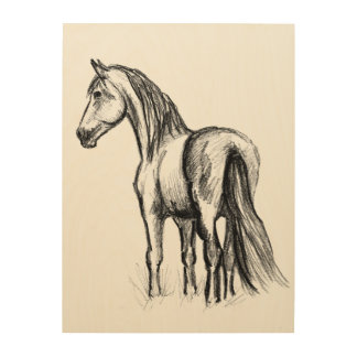 horse in paddock wood print