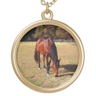 horse in pasture gold plated necklace