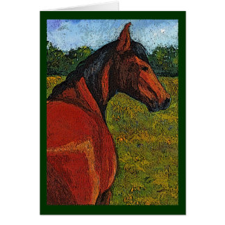 Horse In Pasture: Original Illustration: Back View Card