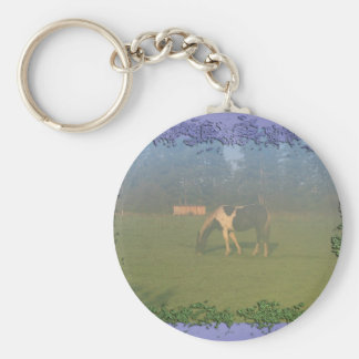 Horse In Pasture: Spotted Horse Eating Keychains