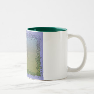 Horse In Pasture: Spotted Horse Eating Two-Tone Coffee Mug