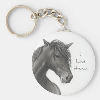 HORSE IN PENCIL: REALISM: HORSE LOVERS BASIC ROUND BUTTON KEYCHAIN