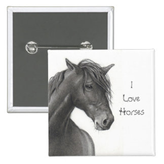 HORSE IN PENCIL: REALISM: HORSE LOVERS PINBACK BUTTON