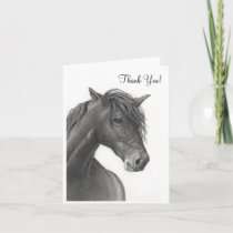 HORSE IN PENCIL: THANK YOU CARD