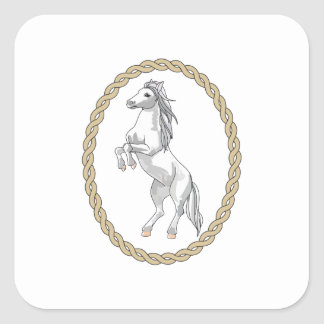 HORSE IN ROPE FRAME SQUARE STICKERS