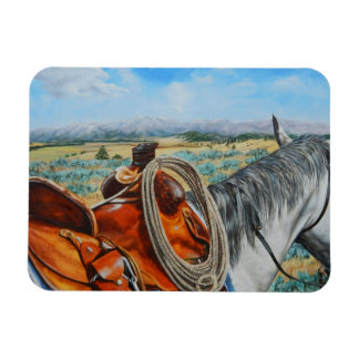 Horse in sadle by Crazy Woman Mountains Montana Magnet