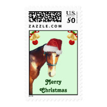 Horse in Santa Hat Christmas Postage Stamps