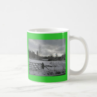 Horse in Snowy Field Coffee Mug