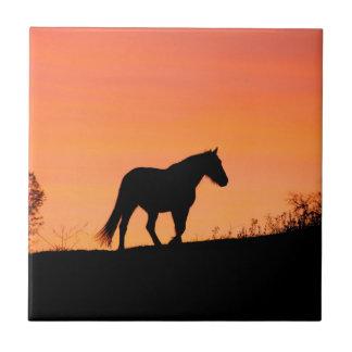 Horse in Southwestern Sunrise Ceramic Tile