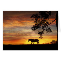 Horse in sunset equine sympathy card