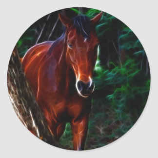 Horse in the forest classic round sticker