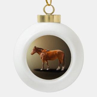 HORSE IN THE LIGHT CERAMIC BALL CHRISTMAS ORNAMENT