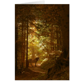 Horse in The Magically Lit Forest Card