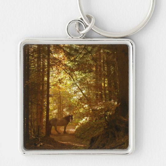 Horse in The Magically Lit Forest Keychain