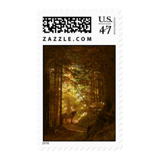 Horse in The Magically Lit Forest Postage
