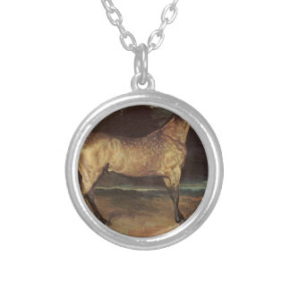 Horse in the storm by Theodore Gericault Round Pendant Necklace