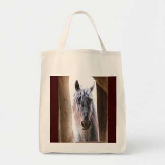 Horse In The Window Grocery Tote Bag