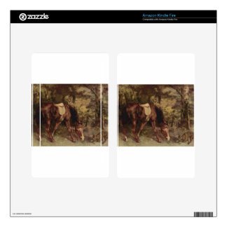 Horse in the Woods by Gustave Courbet Skin For Kindle Fire