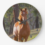 Horse In The Woods Large Clock