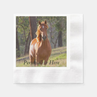 Horse In The Woods Coined Cocktail Napkin
