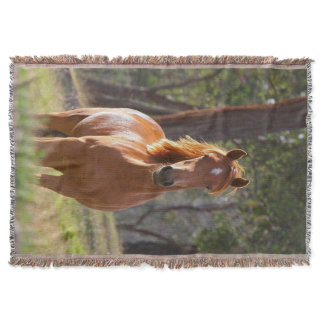 Horse In The Woods Throw Blanket