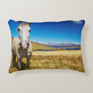 Horse in Torres del Paine National Park, Laguna Decorative Pillow