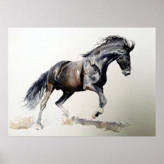 Horse In Watercolor Portrait Poster Print