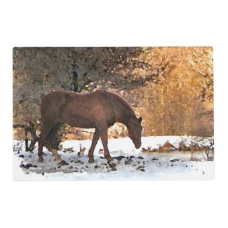 Horse in Winter Laminated Placemat