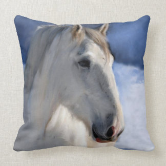 Horse in Winter Landscape Throw Pillow